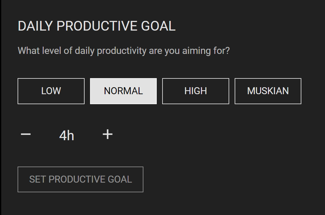 Simplified goals feature